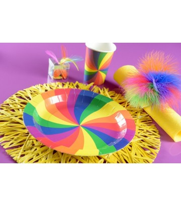 10 assiettes en carton rainbow