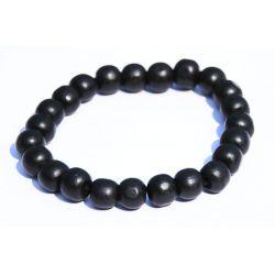 Bracelet boules bois noir