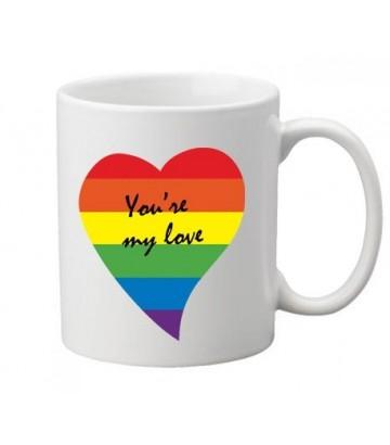 Mug Coeur Rainbow gay lesbien idéal cadeau