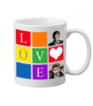 Mug gay et lesbien personnalisé coeur rainbow