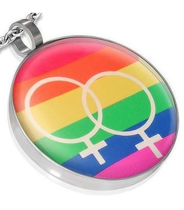 Pendentif Rainbow Lesbien rond 2 symbole femme