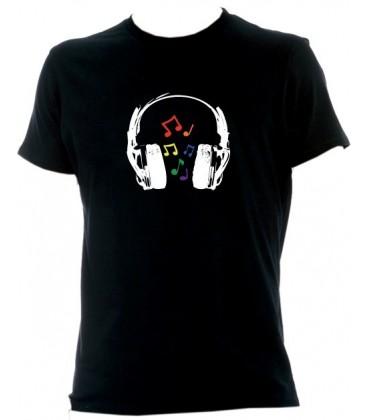 T Shirt Casque gay lesbien note de musique arc en ciel