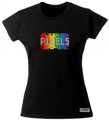 Tee shirt gay lesbien Pixel Rainbow