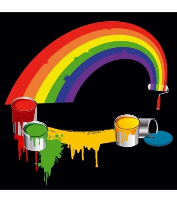 Tee shirt rainbow paint