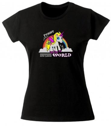 Tee shirt femme sympa avec une licorne arc en ciel