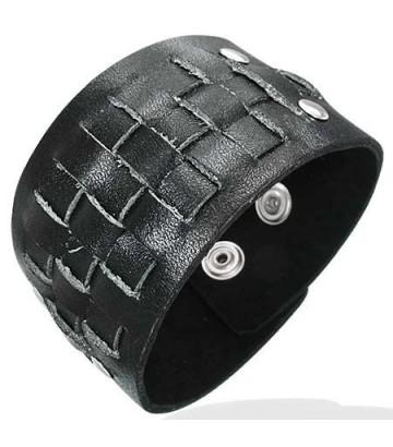 Bracelet cuir noir pression tressé