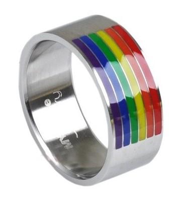 Bague acier barre rainbow pour gay et lesbienne arc en ciel