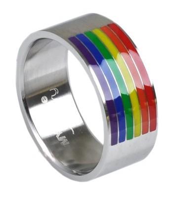 Bague acier barre rainbow