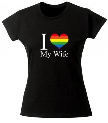Tee shirt lesbien I love my wife