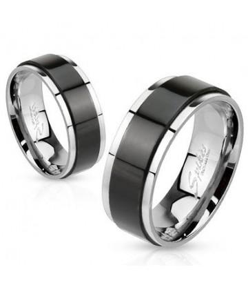 Bague spinning noir acier