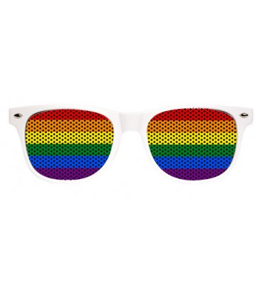 Lunettes fun blanches rainbow