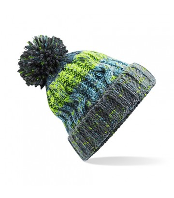 Bonnet pompon vert/bleu