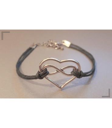 Bracelet coton coeur infini