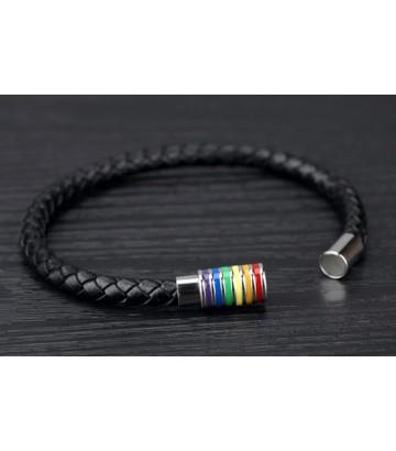 Bracelet cuir fermeture rainbow