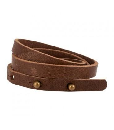 Bracelet cuir 3 tours marron