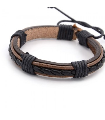 Bracelet cuir noir marron