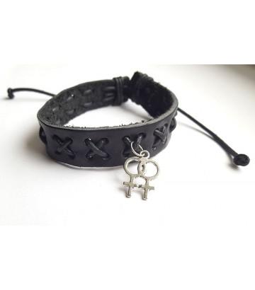 Bracelet cuir croix lesbien