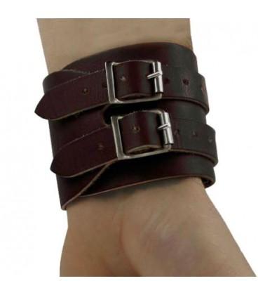 Bracelet de force 2 boucles marrron