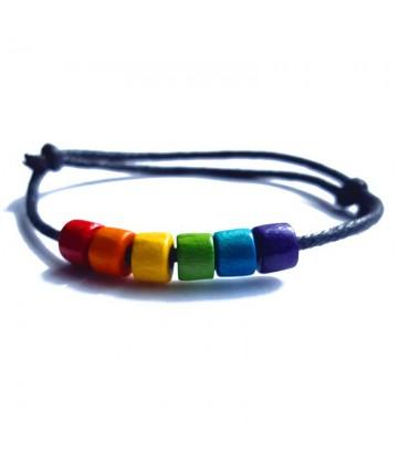 Bracelet corde et perles arc-en-ciel