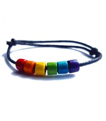Bracelet corde et perles arc-en-ciel lesbien