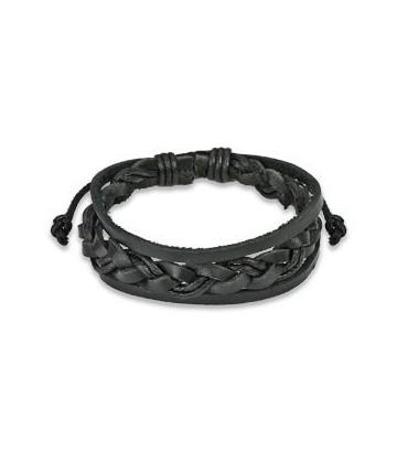Bracelet cuir tresse noire