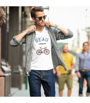 Tee shirt coton bio Beau comme un vélo - France