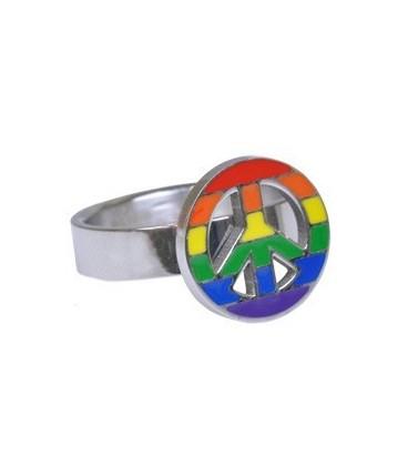 Bague Peace & Love promo pour gay lesbienne - bague gaypride pas chère